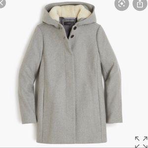 New with tags JCrew Italian wool coat fur hood
